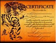Tiger Certificate